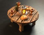 Bread Table with Flickering LED light lantern - Dungeons and Dragons D&D