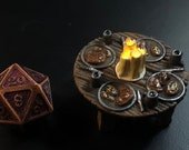 Steak and Potato Table with Flickering LED light candle - Dungeons and Dragons D&D