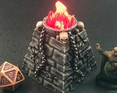 Ancient Evil Rune Plinth / Brazier with skulls and swappable flickering flame for D&D Dungeons and Dragons
