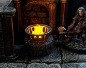 Tiny 28mm iron brazier on stone base with Flickering LED flame for Dungeons and Dragons D&D