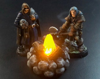 Campfire with Flickering LED light flame for Tabletop Games Dungeons and Dragons D&D