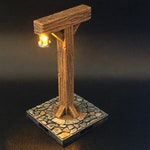 Village Exterior Lantern / Timber Frame Light on cobblestone for Dungeons and Dragons D&D