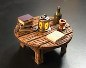 Book Table with Flickering LED light lantern - Dungeons and Dragons D&D