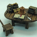 Scribe / Books / Study Table with Flickering LED Lantern for Dungeons and Dragons D&D