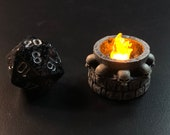Tiny 28mm skull brazier with Flickering LED flame for Dungeons and Dragons D&D