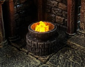 Tiny 28mm stone brazier with Flickering LED flame for Dungeons and Dragons D&D