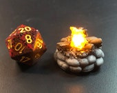 "Tiny 28mm (1"") D&D Campfire light with Flickering LED flame for Tabletop Games"
