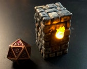 """Flickering LED Light Torch Pillar """"Style B"""" for Dungeons and Dragons D&D"""