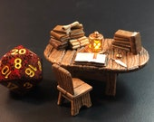Scribe / Books / Study Table with Flickering LED light Lantern for Dungeons and Dragons D&D