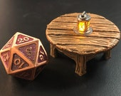 Round Table with Flickering LED light lantern - Dungeons and Dragons D&D