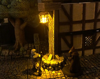 Wooden Lamp Post / Lantern Post on Stone Base for Dungeons and Dragons D&D