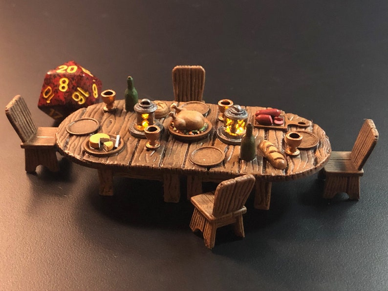 Tavern / Inn Feast Table with Flickering LED lanterns for image 0