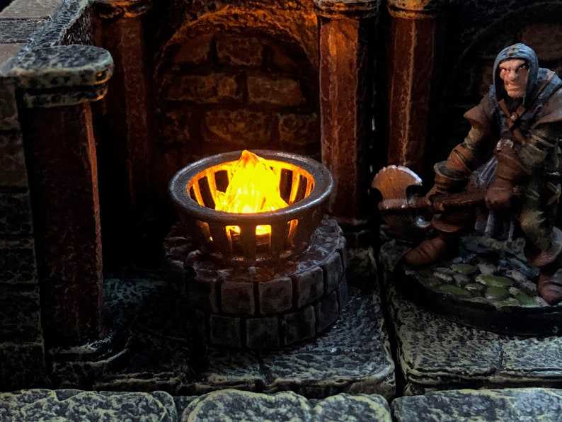 Tiny 28mm iron brazier on stone base with Flickering LED flame image 1