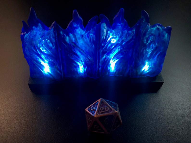 Modular Wall of Blue Flame with flickering LED lights for image 0
