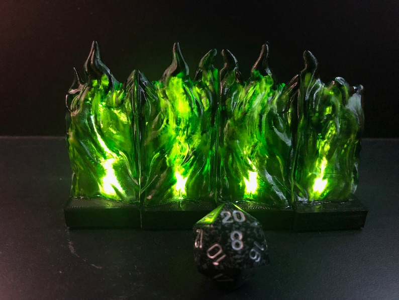 Modular Wall of GREEN FLAME with flickering LED lights for image 0