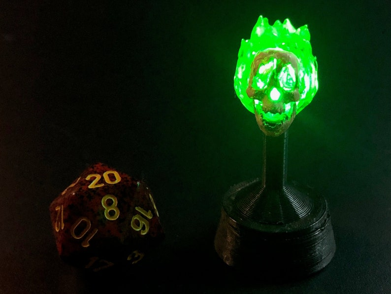 Flameskull with Flickering Green LED for Dungeons and Dragons image 0