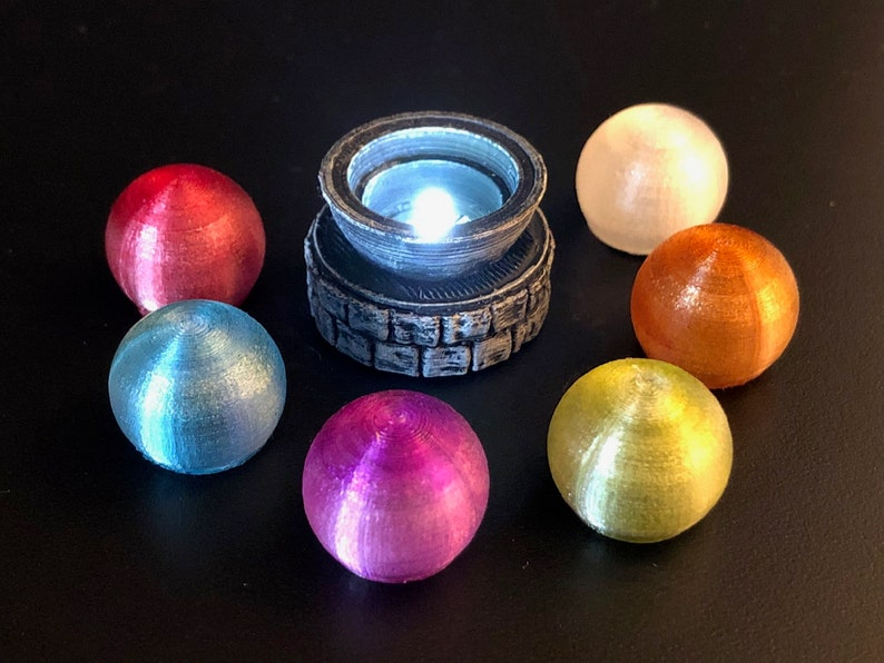 Swappable Chromatic Glowing Orb on Stone Pedestal for Dungeons image 0