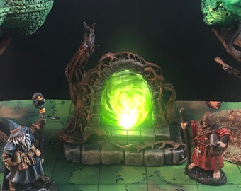Glowing Overgrown/Forest Portal with swappable color insert for D&D Dungeons and Dragons