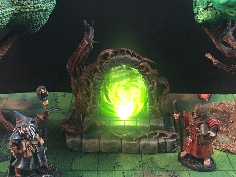 Glowing Overgrown/Forest Portal with swappable color insert image 1