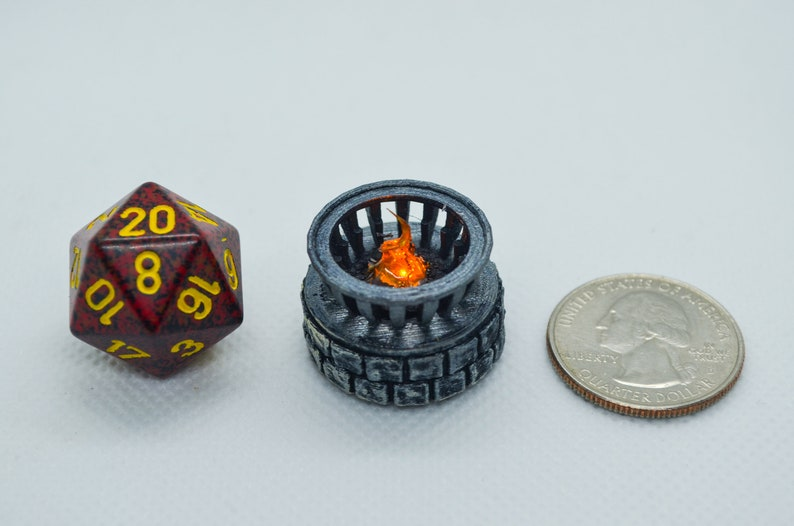 Tiny 28mm iron brazier on stone base with Flickering LED flame Painted