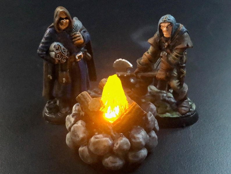 Campfire with Flickering LED light flame for Tabletop Games image 0