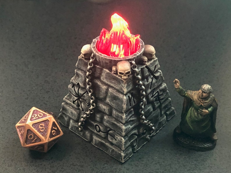 Ancient Evil Rune Plinth / Brazier with skulls and swappable image 0