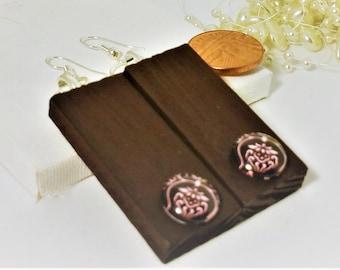 Wooden Earrings, Rectangle Earrings, Brown Earrings, Retro Earrings, Recycled Earrings, Summer Earrings, Hippie Earrings, Unique,