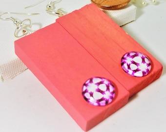 Wooden Earrings, Rectangle Earrings, Pink Earrings, Retro Earrings, Recycled Earrings, Summer Earrings, Hippie Earrings, Unique,