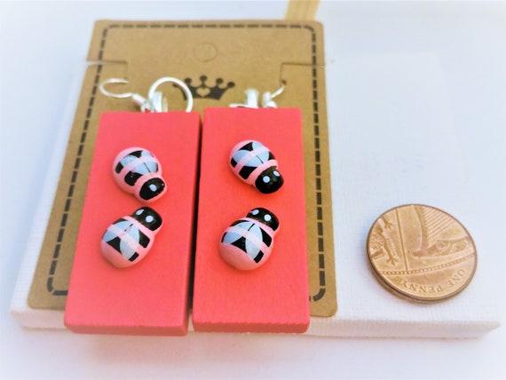 Wooden Earrings, Rectangular E...