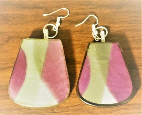 Asymmetric Purple Earrings, As...