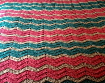 Teal and coral and beige ripple blanket