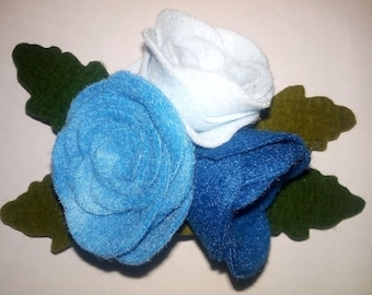 Hair clip in the form of roses Clip a bouquet of roses Hair clip out of felt Roses from felt Bouquet of roses Hair clip roses Gift for her