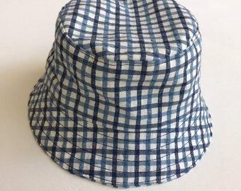 42b08e09078ec Baby Bucket Hat, Seersucker Pool Hat, Infants Plaid Bucket Hat, Blue Plaid  Baby Hat