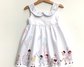 612f9021ca12 Toddlers Parade Sundress, Girls Summer Dress, Little Girls Balloons Party  Dress, Pastel Colors, Sleeveless, Birthday Dress