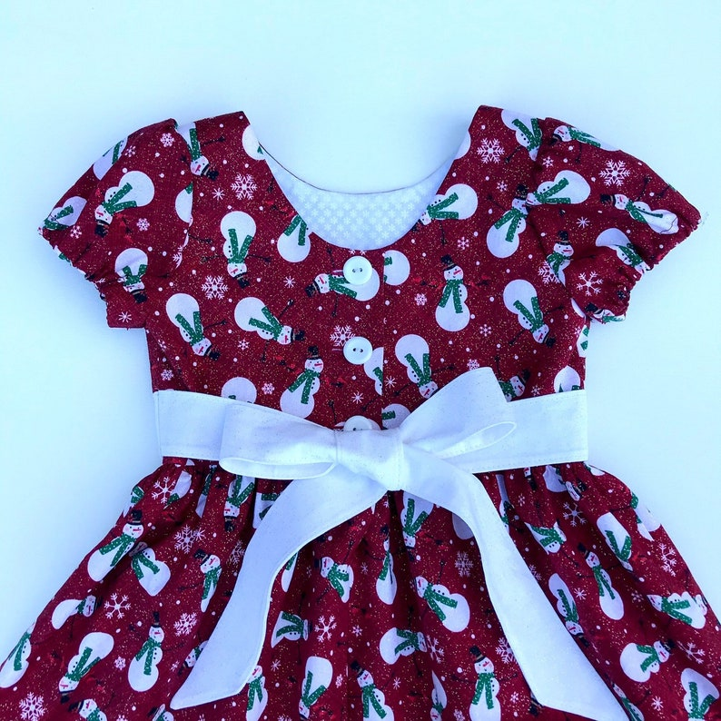 Red and White Holiday Outfit Snowman Christmas Dress Toddlers Little Girls Winter Dress Santa Photo Dress