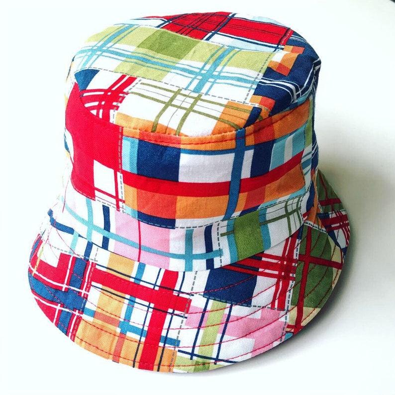 7f4da6390 Kids' Plaid Bucket Hat, Unisex Beach Hat, Boys Summer Hat, Girls Sun Hat,  Baby Summer Hat, Toddlers Handmade Hat