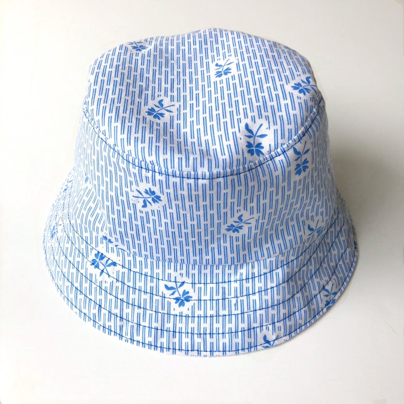 991f6cc92832c4 Child's Bucket Hat Blue and White Floral Bucket Hat | Etsy