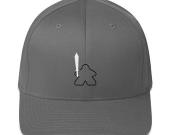 05f2594684fda Tiny Epic Meeple with Sword Flexfit 6277 Structured Twill Cap in Various  Colors~Board Game Enthusiast Baseball Cap~Armed Meeple Accessories