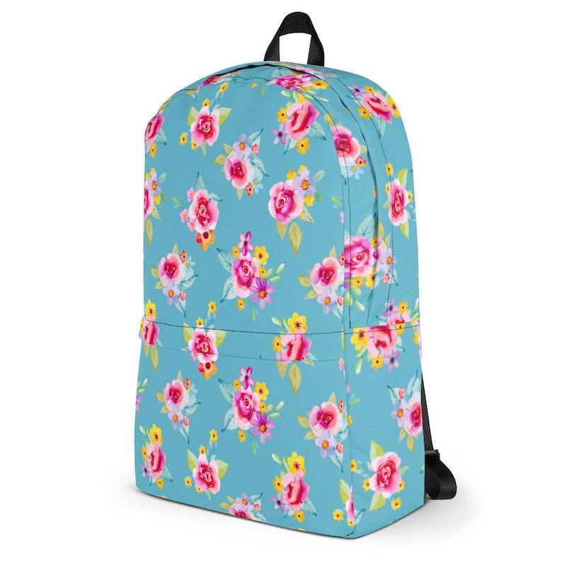 Teal Floral Waterproof Laptop Backpack~Watercolor Floral Backpack~Feminie Rucksack~Pretty Rose Backpack~Backpacks for Kids~Floral School Bag