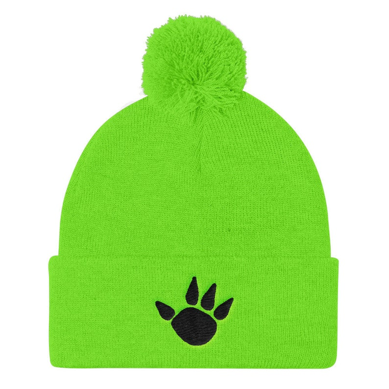 59cd3572b55b5 Neon Green Pom Pom Knit Cap With Embroiderd Black ClawBoard