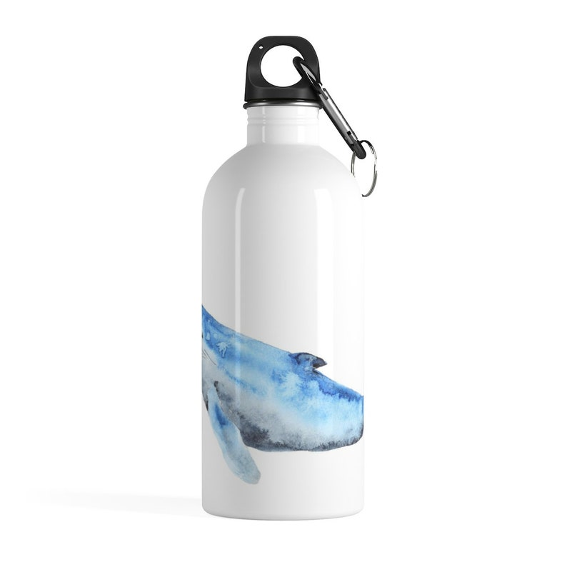 Whatercolor Blue Whale Stainless Steel Water Bottle~On the go Attachable Waterbottle