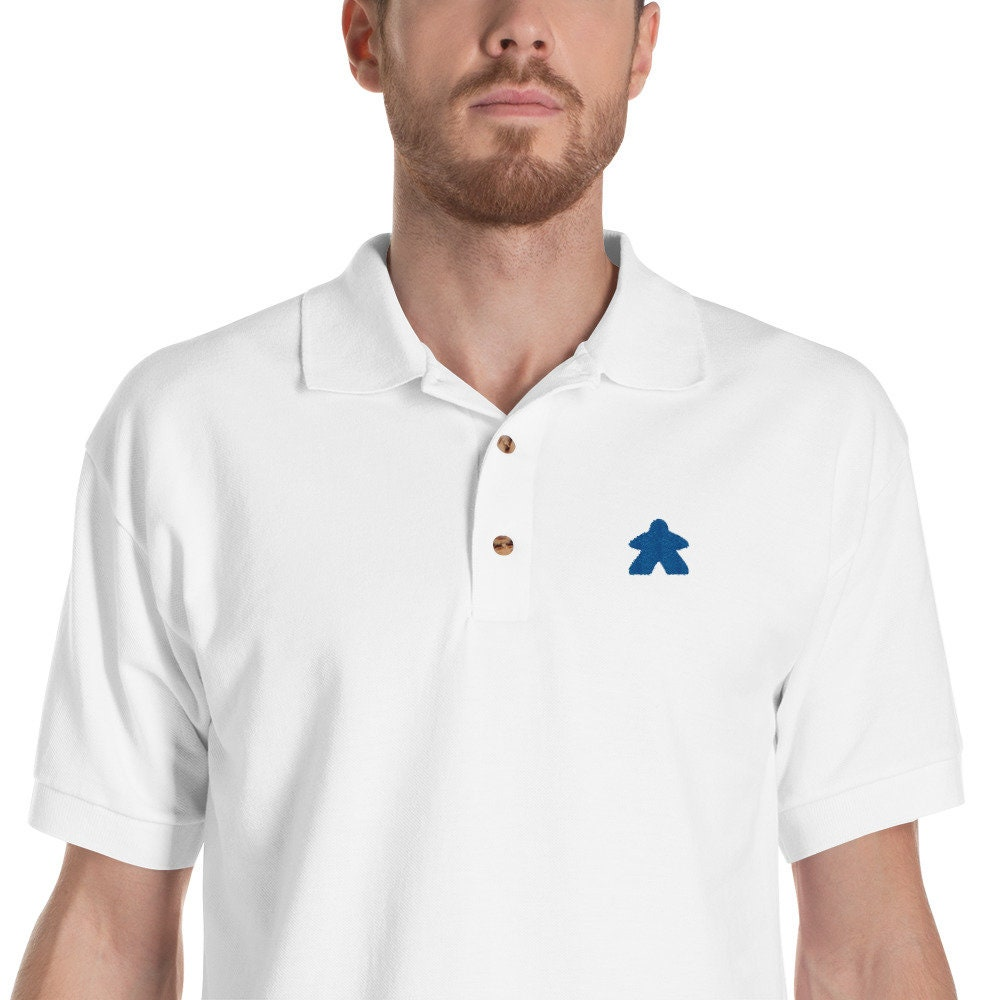 Blue Embroidered Meeple Polo Shirtwork Appropriate Board Etsy