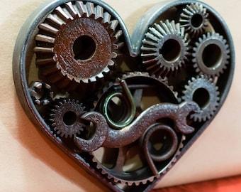 Steampunk Heart, Wedding Decor, Gift for Mechanic
