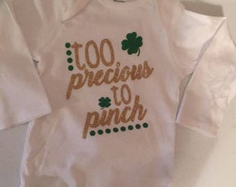 St Patrick's day onesie- too precious too pinch