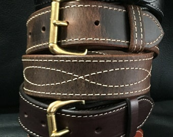 """1.5/""""Genuine Stitched Leather Casual Gun Work Belt Double Hole Heavy Duty USA CCW"""