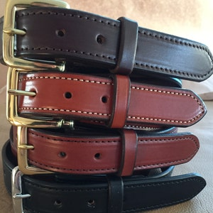 Made in USA Leather Belt Double Stitched Edge Amish Handmade Genuine Free Shipping