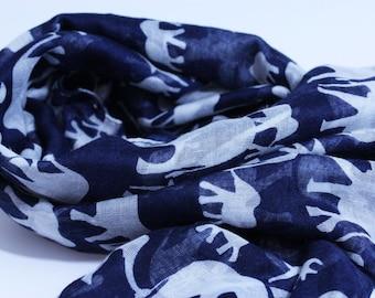 7b92759b68926 Elephant scarf in blue / elephant gift / elephant lover / blue scarf /  teacher present