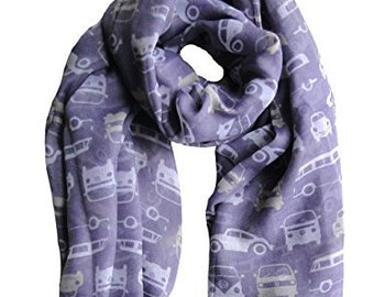 VW Scarf / Volkswagen scarf / Lilac scarf / VW gift /