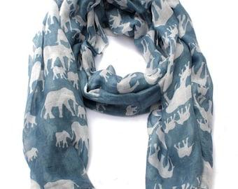3572ce6d4e4d4 Elephant scarf in petrol blue / elephant gift / elephant lover / blue scarf  / teacher present gift