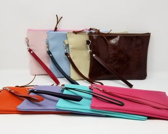 Leather wristlet, wristlet, leather clutch
